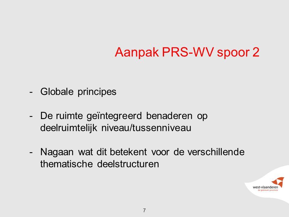 Aanpak PRS-WV spoor 2 -Globale principes -De ruimte geïntegreerd benaderen op deelruimtelijk niveau/tussenniveau -Nagaan wat dit betekent voor de verschillende thematische deelstructuren 7