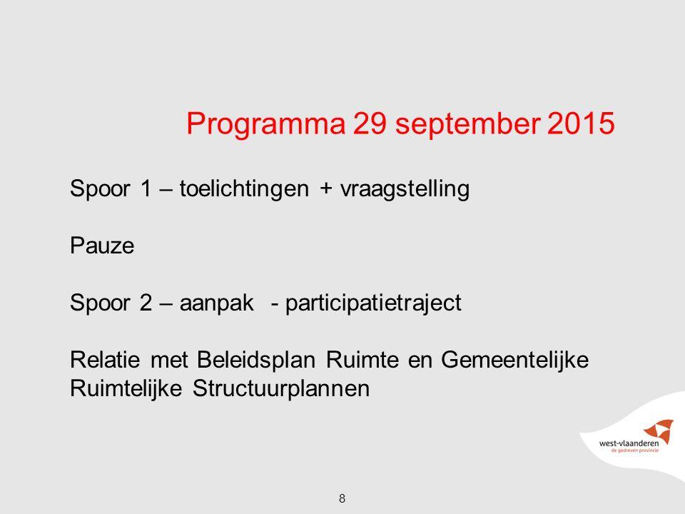 Programma 29 september 2015 Spoor 1 – toelichtingen + vraagstelling Pauze Spoor 2 – aanpak - participatietraject Relatie met Beleidsplan Ruimte en Gem