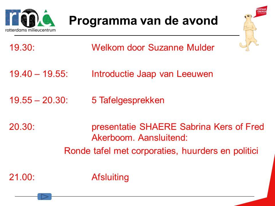 Programma van de avond 19.30: Welkom door Suzanne Mulder 19.40 – 19.55: Introductie Jaap van Leeuwen 19.55 – 20.30: 5 Tafelgesprekken 20.30: presentat