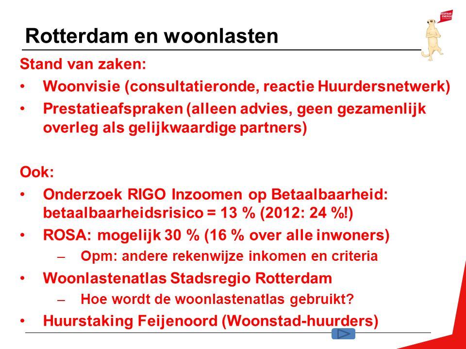 Rotterdam en woonlasten Stand van zaken: Woonvisie (consultatieronde, reactie Huurdersnetwerk) Prestatieafspraken (alleen advies, geen gezamenlijk ove