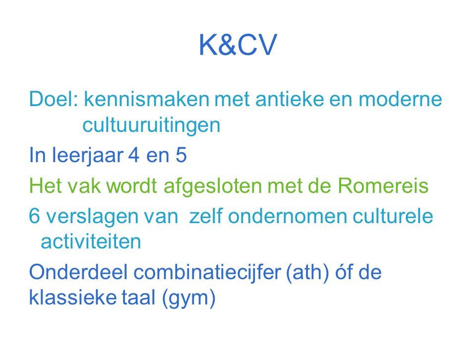 K&CV Doel: kennismaken met antieke en moderne cultuuruitingen In leerjaar 4 en 5 Het vak wordt afgesloten met de Romereis 6 verslagen van zelf ondernomen culturele activiteiten Onderdeel combinatiecijfer (ath) óf de klassieke taal (gym)