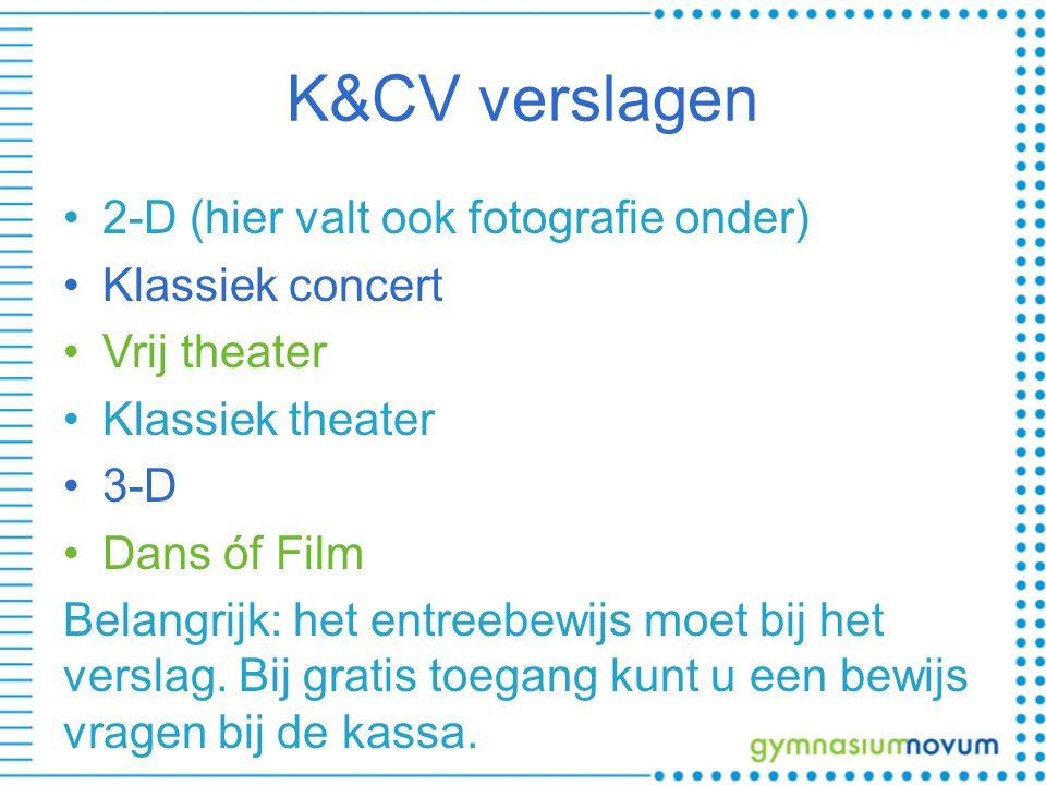 K&CV verslagen 2-D (hier valt ook fotografie onder) Klassiek concert Vrij theater Klassiek theater 3-D Dans óf Film Belangrijk: het entreebewijs moet bij het verslag.