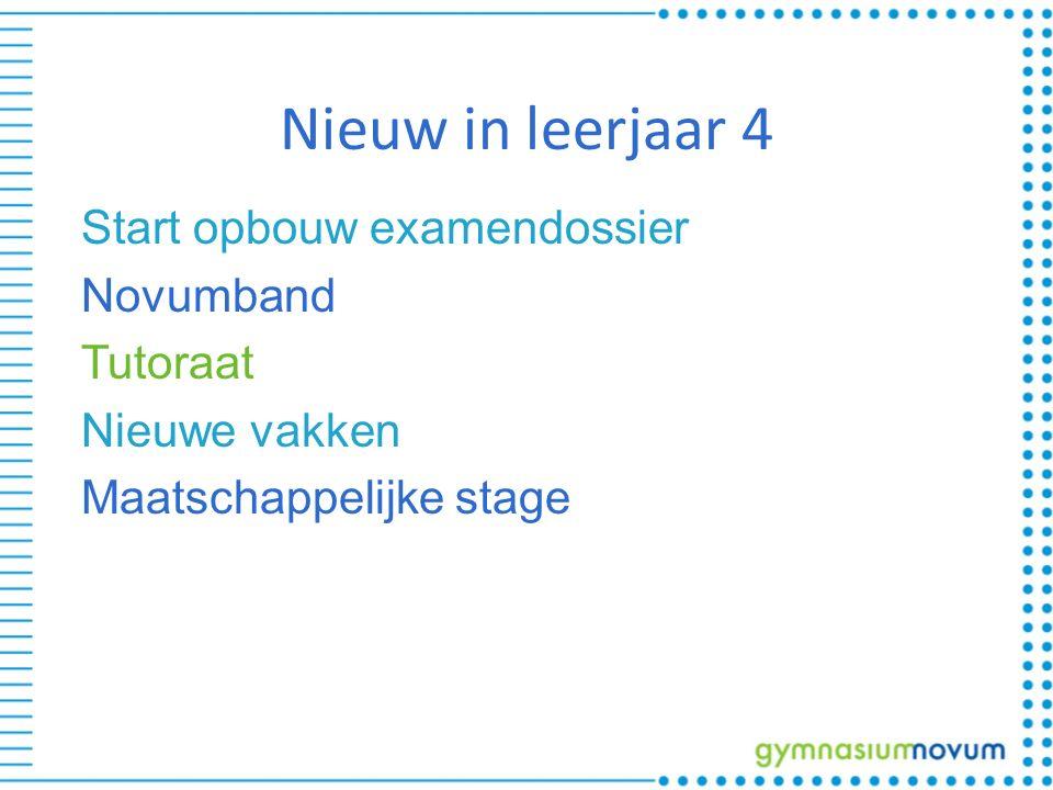 Nieuw in leerjaar 4 Start opbouw examendossier Novumband Tutoraat Nieuwe vakken Maatschappelijke stage