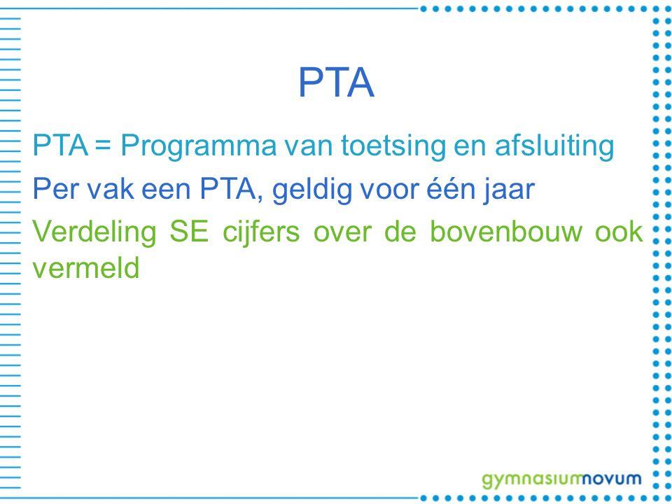 PTA PTA = Programma van toetsing en afsluiting Per vak een PTA, geldig voor één jaar Verdeling SE cijfers over de bovenbouw ook vermeld
