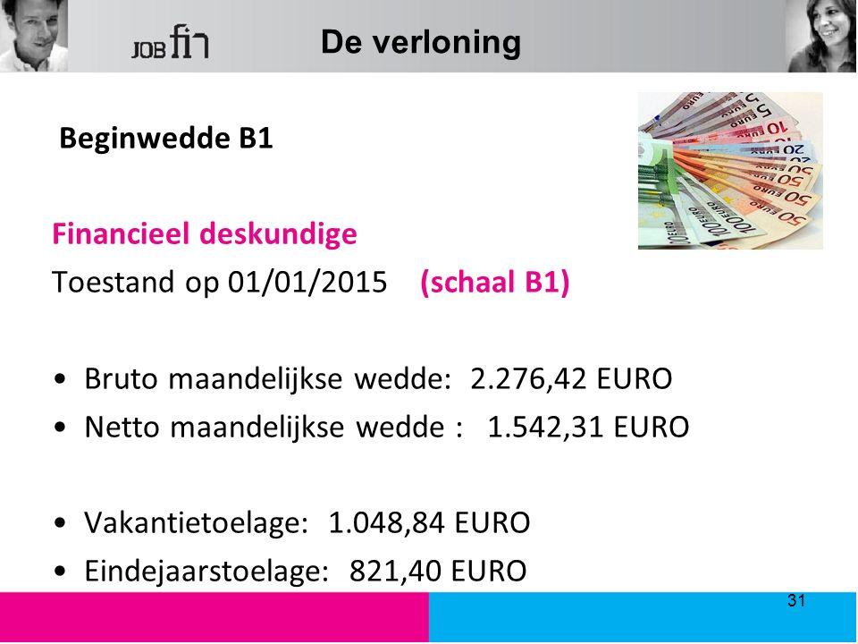 De verloning Beginwedde B1 Financieel deskundige Toestand op 01/01/2015 (schaal B1) Bruto maandelijkse wedde: 2.276,42 EURO Netto maandelijkse wedde : 1.542,31 EURO Vakantietoelage: 1.048,84 EURO Eindejaarstoelage: 821,40 EURO 31
