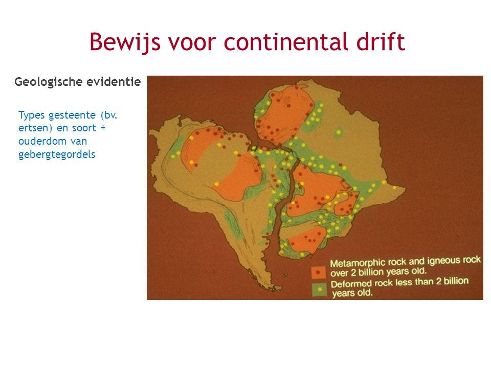 Bewijs voor continental drift Geologische evidentie Types gesteente (bv. ertsen) en soort + ouderdom van gebergtegordels