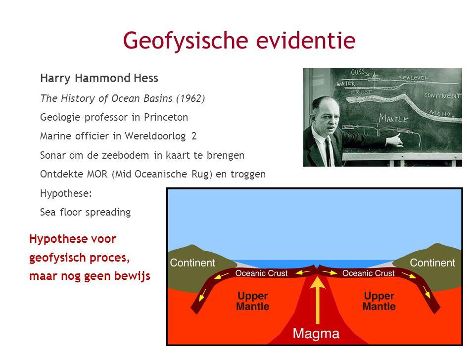 Geofysische evidentie Harry Hammond Hess The History of Ocean Basins (1962) Geologie professor in Princeton Marine officier in Wereldoorlog 2 Sonar om