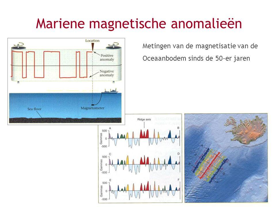Mariene magnetische anomalieën Metingen van de magnetisatie van de Oceaanbodem sinds de 50-er jaren