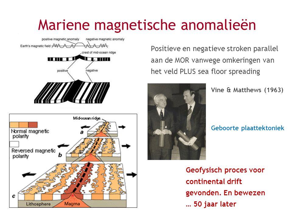 Vine & Matthews (1963) Geboorte plaattektoniek Positieve en negatieve stroken parallel aan de MOR vanwege omkeringen van het veld PLUS sea floor sprea