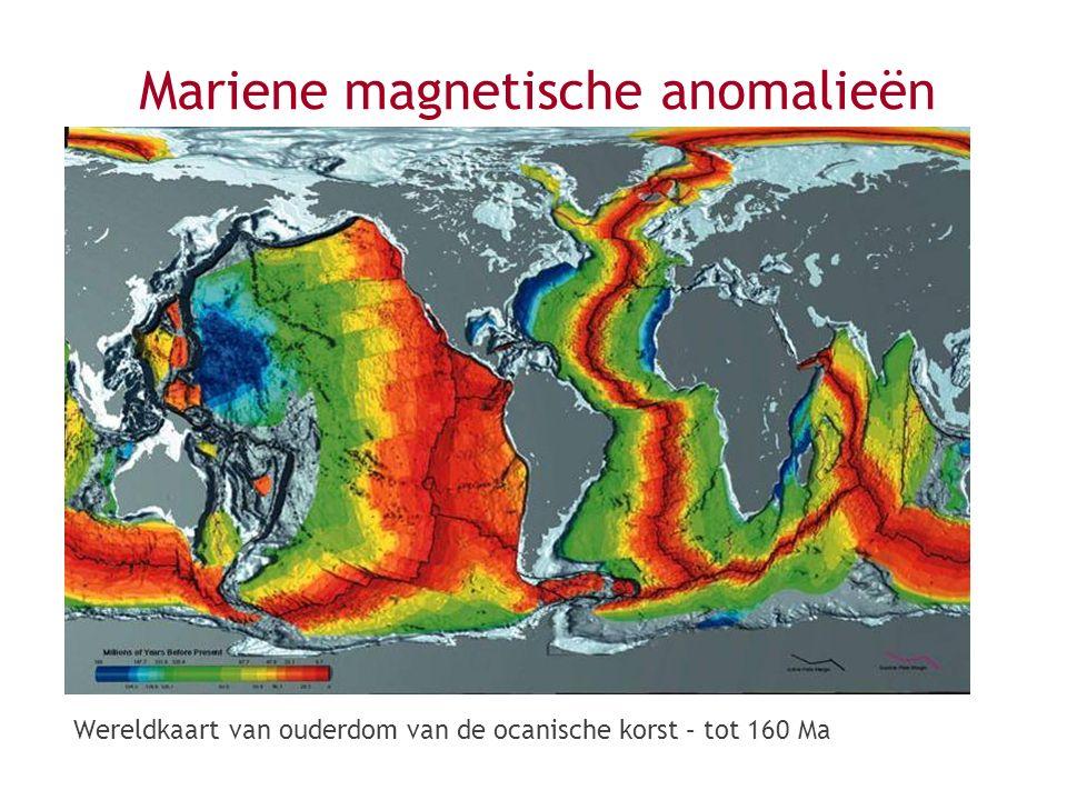 Wereldkaart van ouderdom van de ocanische korst – tot 160 Ma
