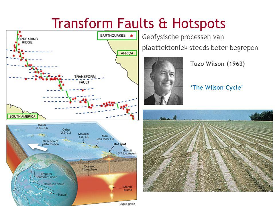 Tuzo Wilson (1963) 'The Wilson Cycle' Geofysische processen van plaattektoniek steeds beter begrepen Transform Faults & Hotspots