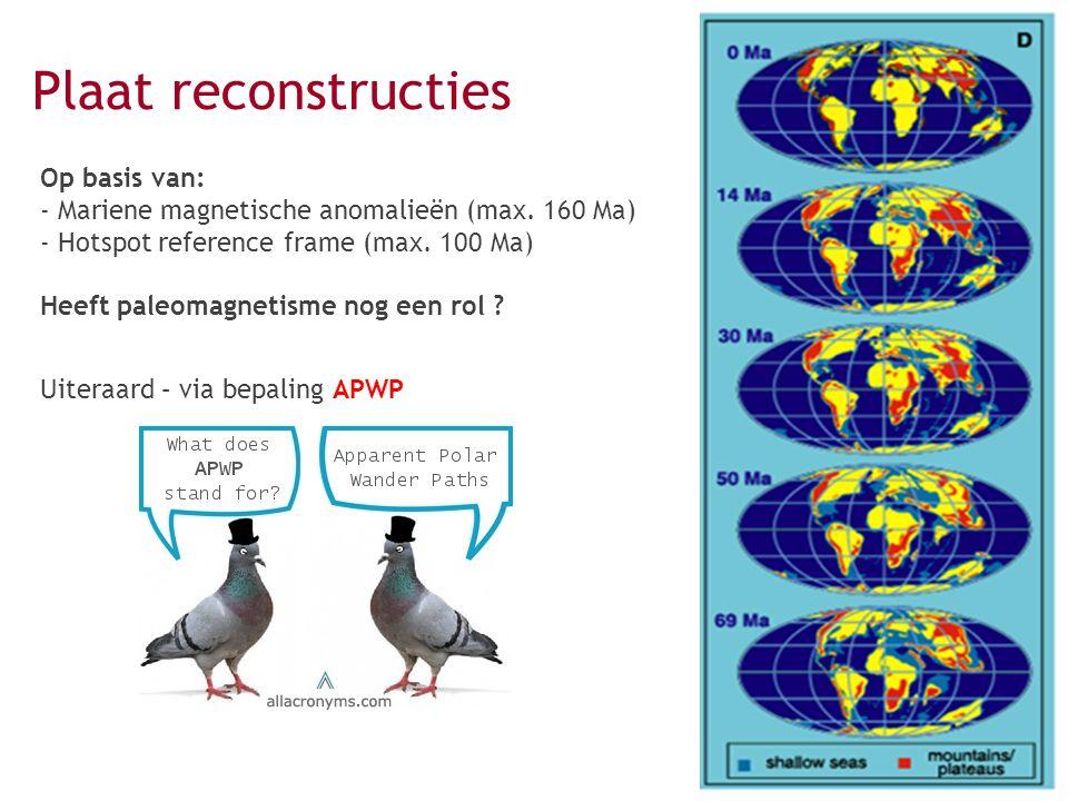 Op basis van: - Mariene magnetische anomalieën (max. 160 Ma) - Hotspot reference frame (max. 100 Ma) Heeft paleomagnetisme nog een rol ? Plaat reconst
