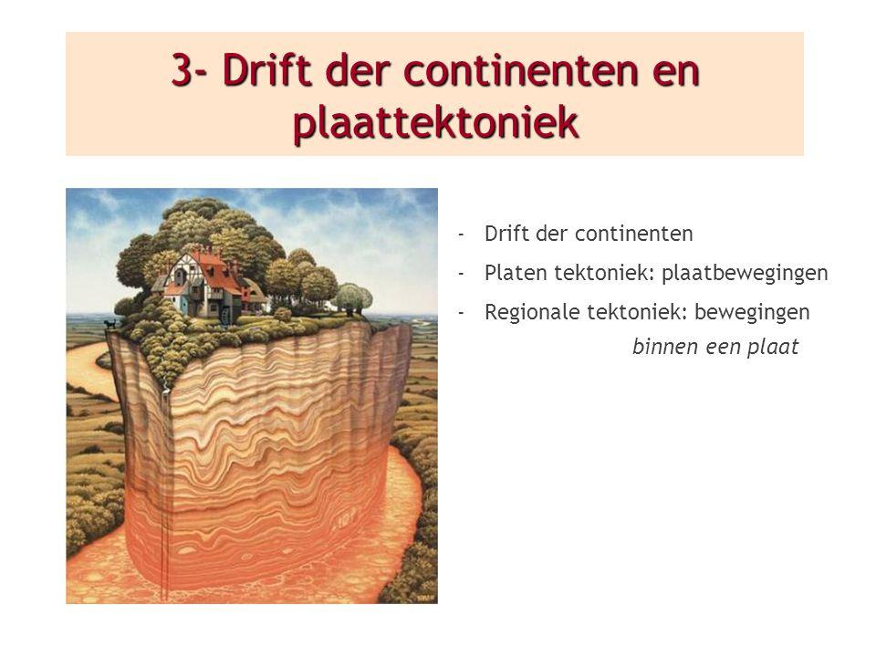 3- Drift der continenten en plaattektoniek -Drift der continenten -Platen tektoniek: plaatbewegingen -Regionale tektoniek: bewegingen binnen een plaat