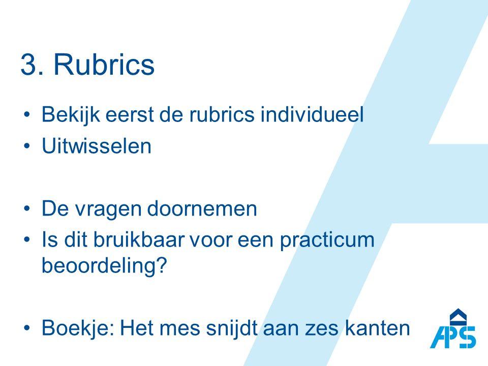3. Rubrics Bekijk eerst de rubrics individueel Uitwisselen De vragen doornemen Is dit bruikbaar voor een practicum beoordeling? Boekje: Het mes snijdt