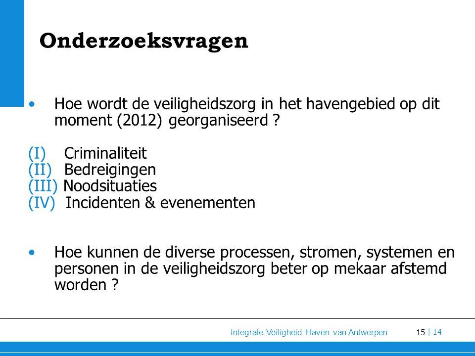15 Integrale Veiligheid Haven van Antwerpen | 14 Onderzoeksvragen Hoe wordt de veiligheidszorg in het havengebied op dit moment (2012) georganiseerd .