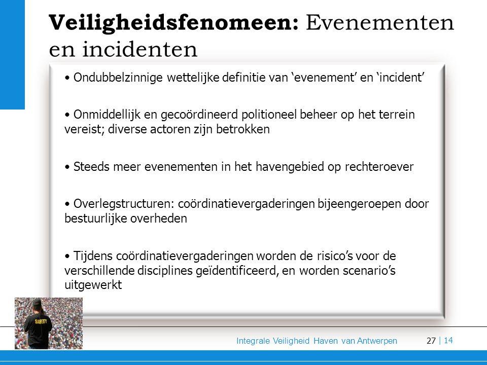 27 Integrale Veiligheid Haven van Antwerpen | 14 Veiligheidsfenomeen: Evenementen en incidenten Ondubbelzinnige wettelijke definitie van 'evenement' en 'incident' Onmiddellijk en gecoördineerd politioneel beheer op het terrein vereist; diverse actoren zijn betrokken Steeds meer evenementen in het havengebied op rechteroever Overlegstructuren: coördinatievergaderingen bijeengeroepen door bestuurlijke overheden Tijdens coördinatievergaderingen worden de risico's voor de verschillende disciplines geïdentificeerd, en worden scenario's uitgewerkt