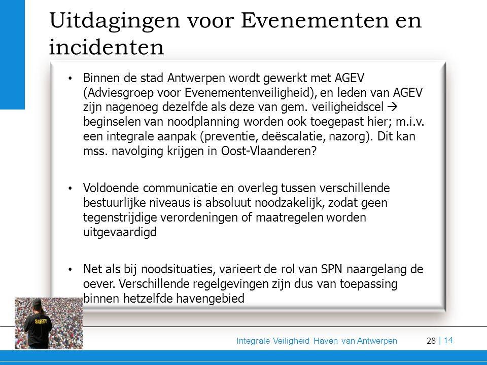 28 Integrale Veiligheid Haven van Antwerpen | 14 Uitdagingen voor Evenementen en incidenten Binnen de stad Antwerpen wordt gewerkt met AGEV (Adviesgroep voor Evenementenveiligheid), en leden van AGEV zijn nagenoeg dezelfde als deze van gem.