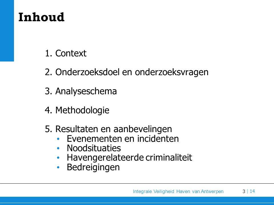 14 Integrale Veiligheid Haven van Antwerpen   14 Onderzoeksdoel Identificeren van: verbeterpistes om te komen tot (meer) integrale en geïntegreerde benadering van veiligheid en beveiliging in de Antwerpse haven struikelpunten die er momenteel nog zijn