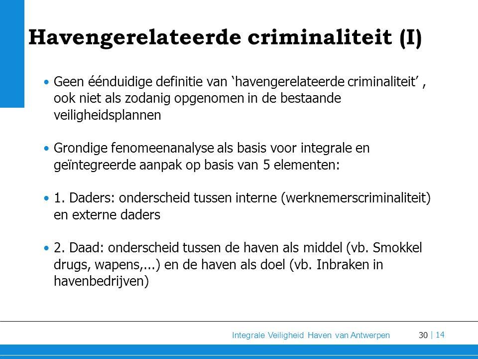 30 Integrale Veiligheid Haven van Antwerpen | 14 Havengerelateerde criminaliteit (I) Geen éénduidige definitie van 'havengerelateerde criminaliteit', ook niet als zodanig opgenomen in de bestaande veiligheidsplannen Grondige fenomeenanalyse als basis voor integrale en geïntegreerde aanpak op basis van 5 elementen: 1.
