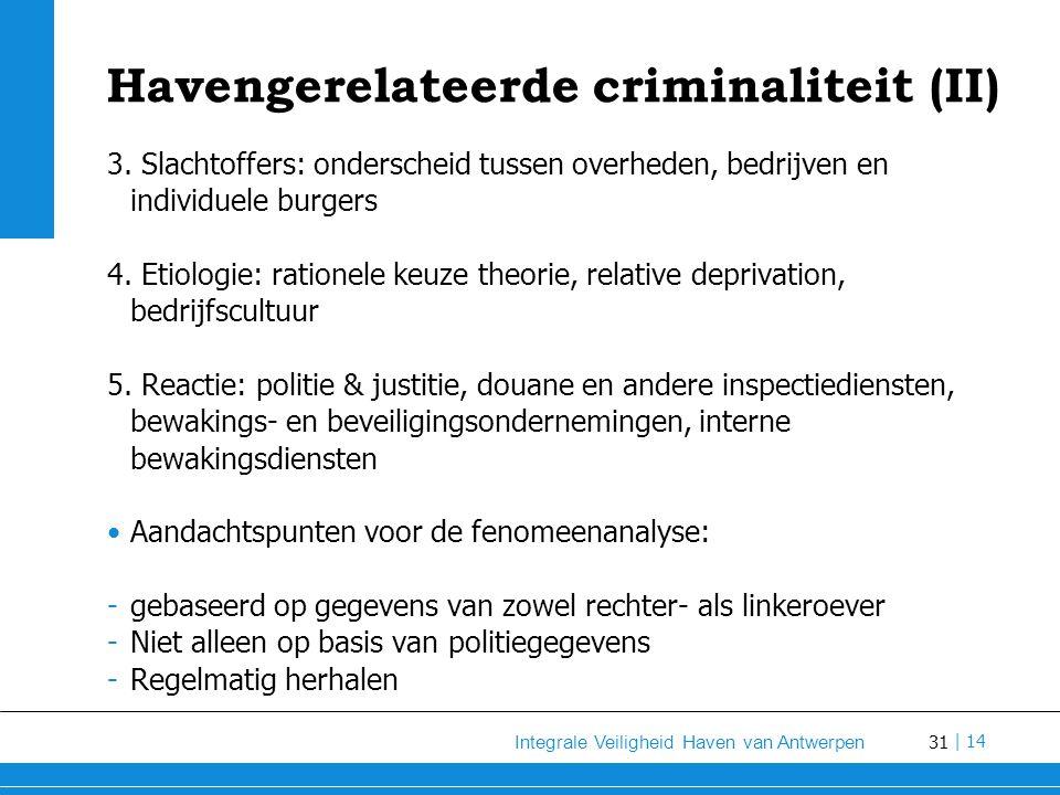 31 Integrale Veiligheid Haven van Antwerpen | 14 Havengerelateerde criminaliteit (II) 3.