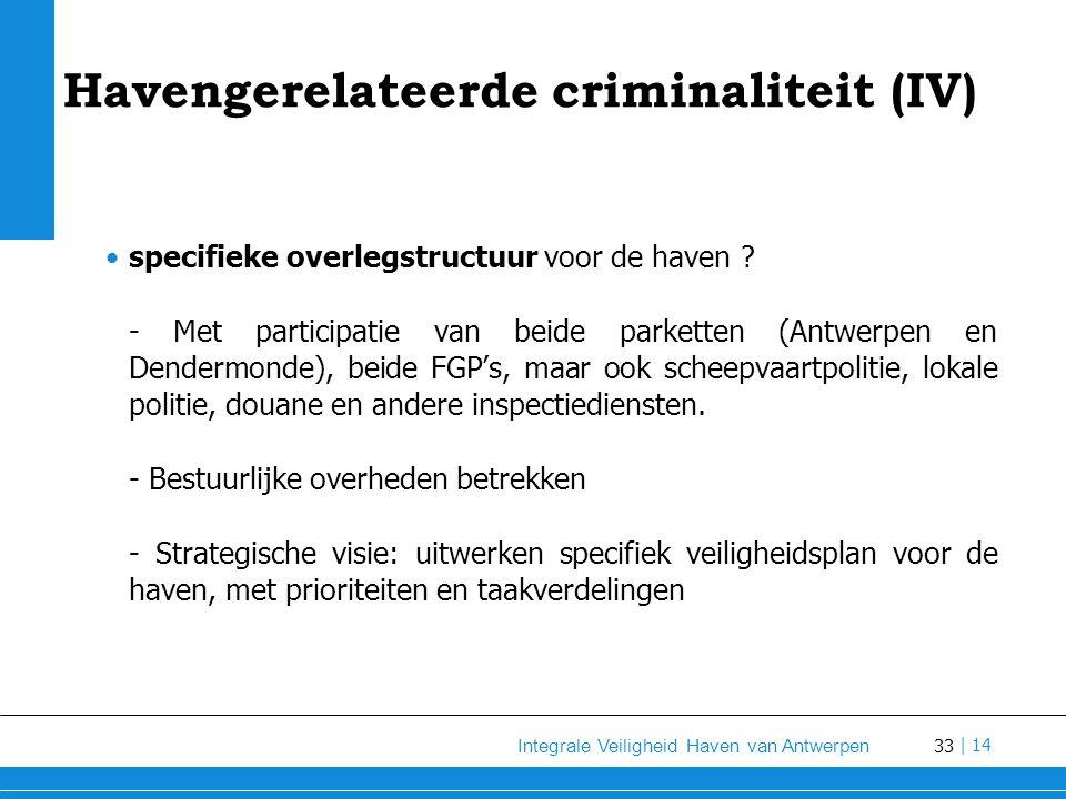 33 Integrale Veiligheid Haven van Antwerpen | 14 Havengerelateerde criminaliteit (IV) specifieke overlegstructuur voor de haven .