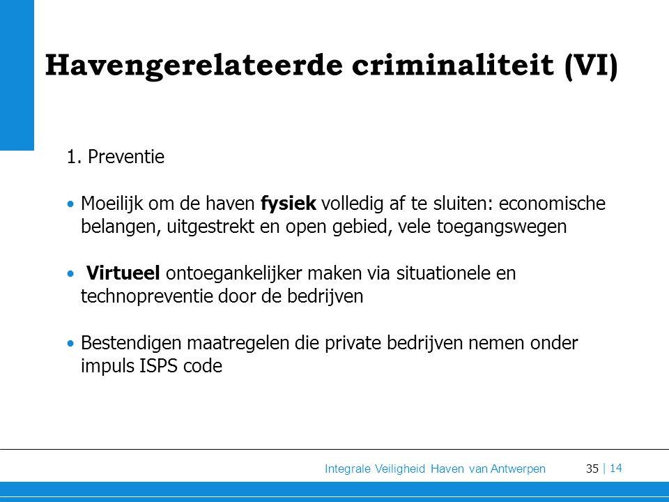 35 Integrale Veiligheid Haven van Antwerpen | 14 Havengerelateerde criminaliteit (VI) 1.