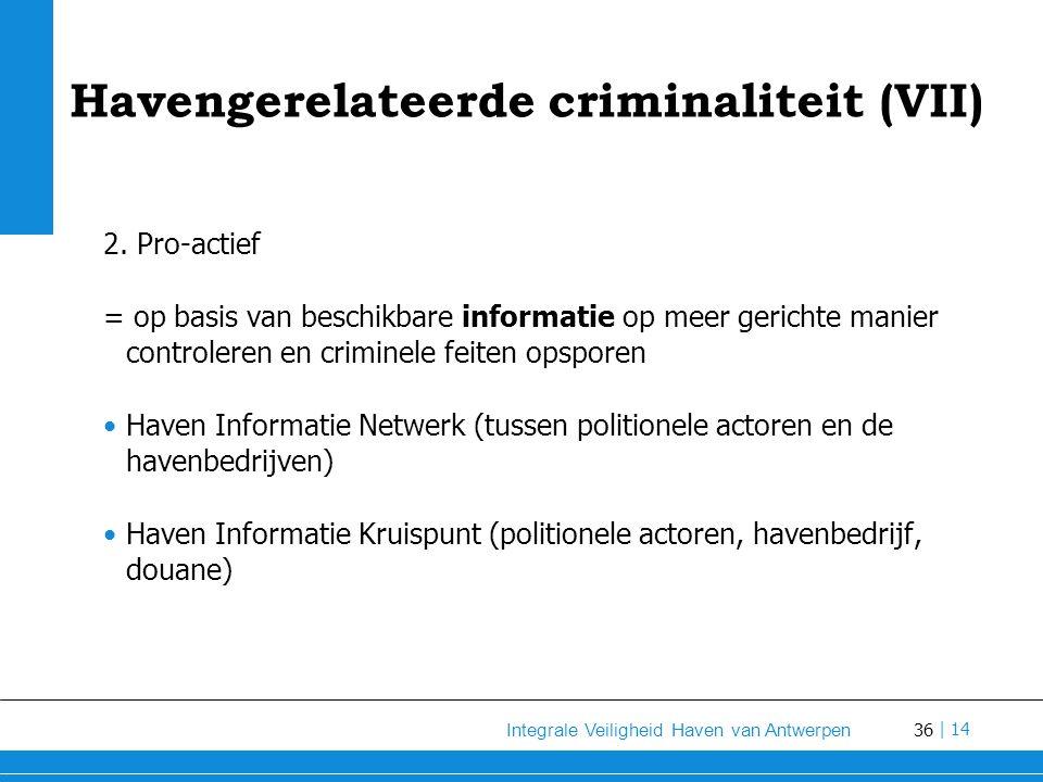 36 Integrale Veiligheid Haven van Antwerpen | 14 Havengerelateerde criminaliteit (VII) 2.