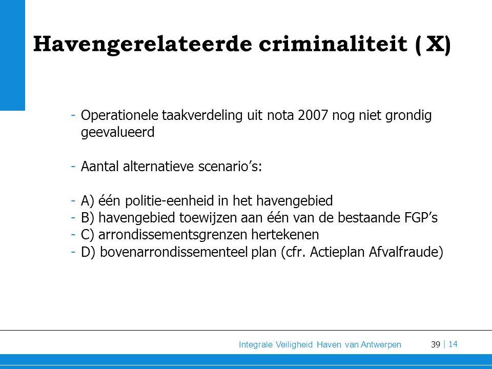 39 Integrale Veiligheid Haven van Antwerpen | 14 Havengerelateerde criminaliteit (X) -Operationele taakverdeling uit nota 2007 nog niet grondig geevalueerd -Aantal alternatieve scenario's: -A) één politie-eenheid in het havengebied -B) havengebied toewijzen aan één van de bestaande FGP's -C) arrondissementsgrenzen hertekenen -D) bovenarrondissementeel plan (cfr.