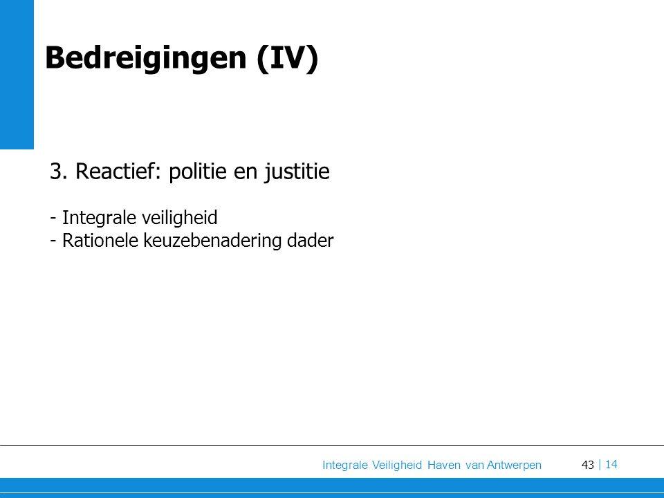 43 Integrale Veiligheid Haven van Antwerpen | 14 Bedreigingen (IV) 3.