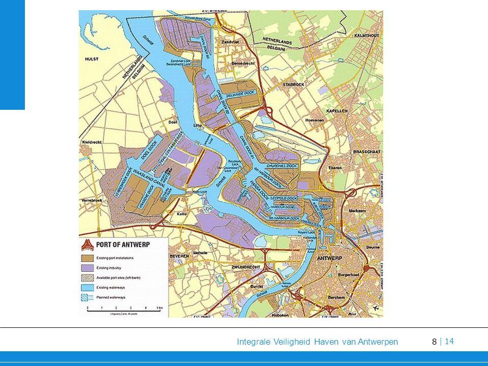 9 Integrale Veiligheid Haven van Antwerpen   14 Grote hoeveelheid actoren direct/indirect betrokken in veiligheidszorg Overheden en openbare besturen Geïntegreerde politie Veiligheids- en inspectiediensten Private actoren Context – Haven Antwerpen (III)
