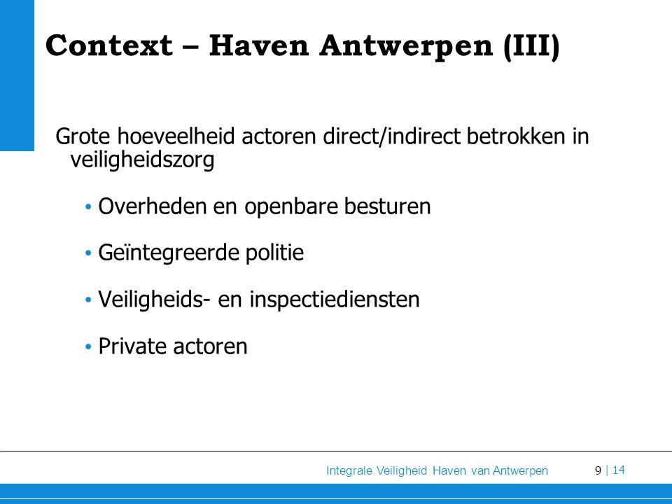9 Integrale Veiligheid Haven van Antwerpen | 14 Grote hoeveelheid actoren direct/indirect betrokken in veiligheidszorg Overheden en openbare besturen Geïntegreerde politie Veiligheids- en inspectiediensten Private actoren Context – Haven Antwerpen (III)