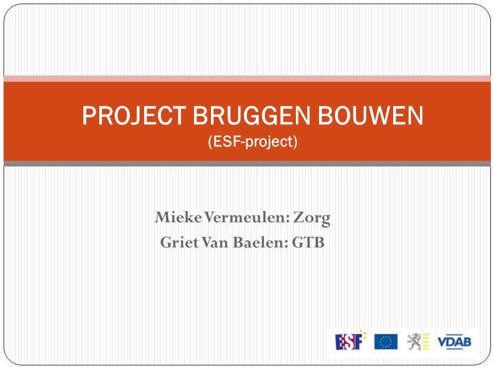 Mieke Vermeulen: Zorg Griet Van Baelen: GTB PROJECT BRUGGEN BOUWEN (ESF-project)