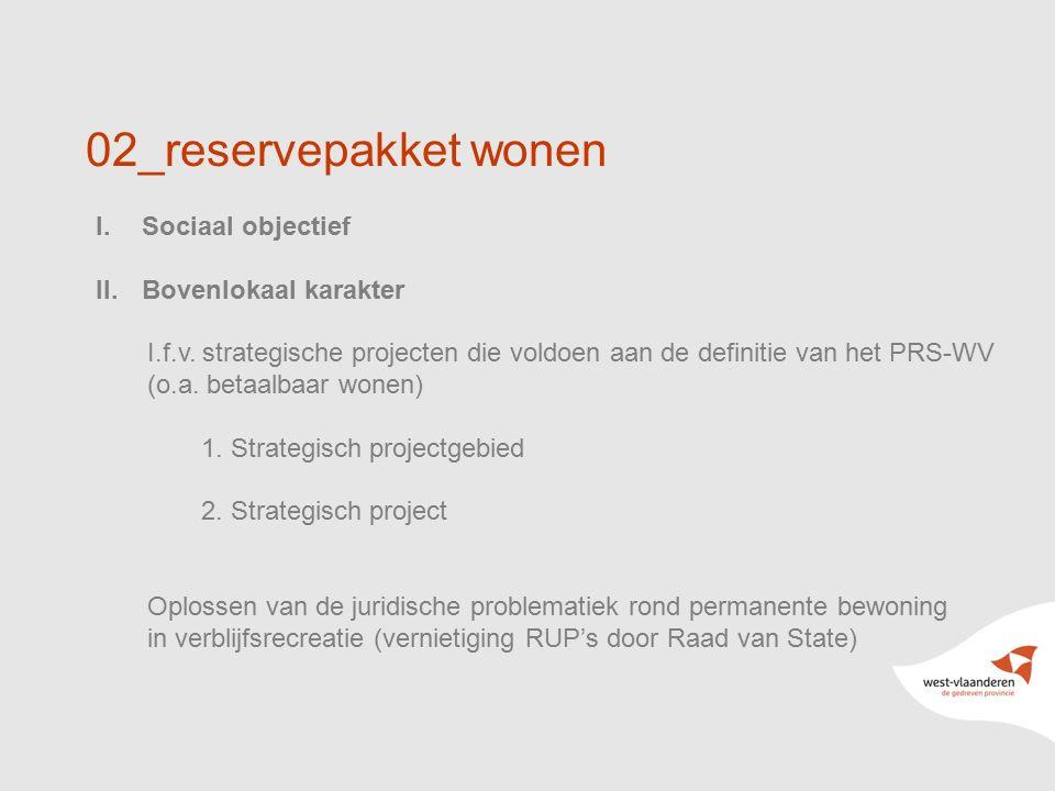 12 02_reservepakket wonen I.Sociaal objectief II.Bovenlokaal karakter I.f.v. strategische projecten die voldoen aan de definitie van het PRS-WV (o.a.