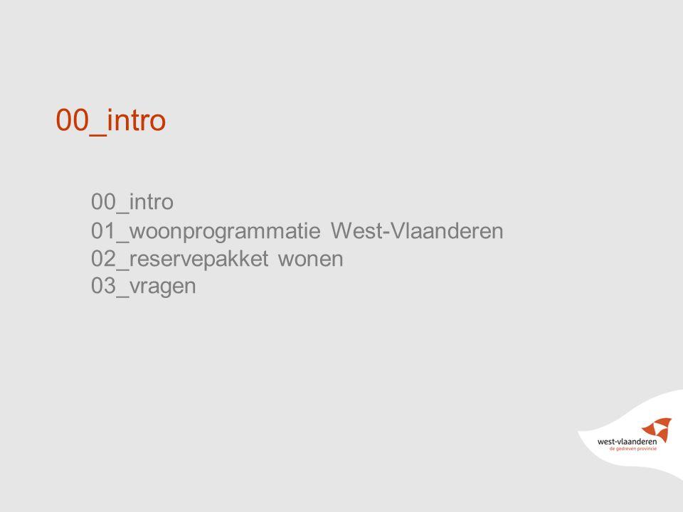 2 00_intro 01_woonprogrammatie West-Vlaanderen 02_reservepakket wonen 03_vragen 00_intro