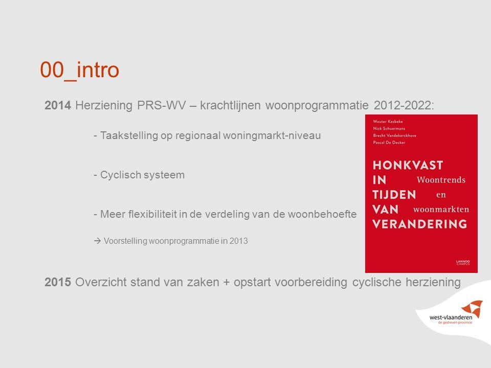 3 2014 Herziening PRS-WV – krachtlijnen woonprogrammatie 2012-2022: - Taakstelling op regionaal woningmarkt-niveau - Cyclisch systeem - Meer flexibiliteit in de verdeling van de woonbehoefte  Voorstelling woonprogrammatie in 2013 2015 Overzicht stand van zaken + opstart voorbereiding cyclische herziening