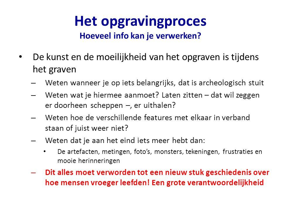 Het opgravingproces Hoeveel info kan je verwerken.