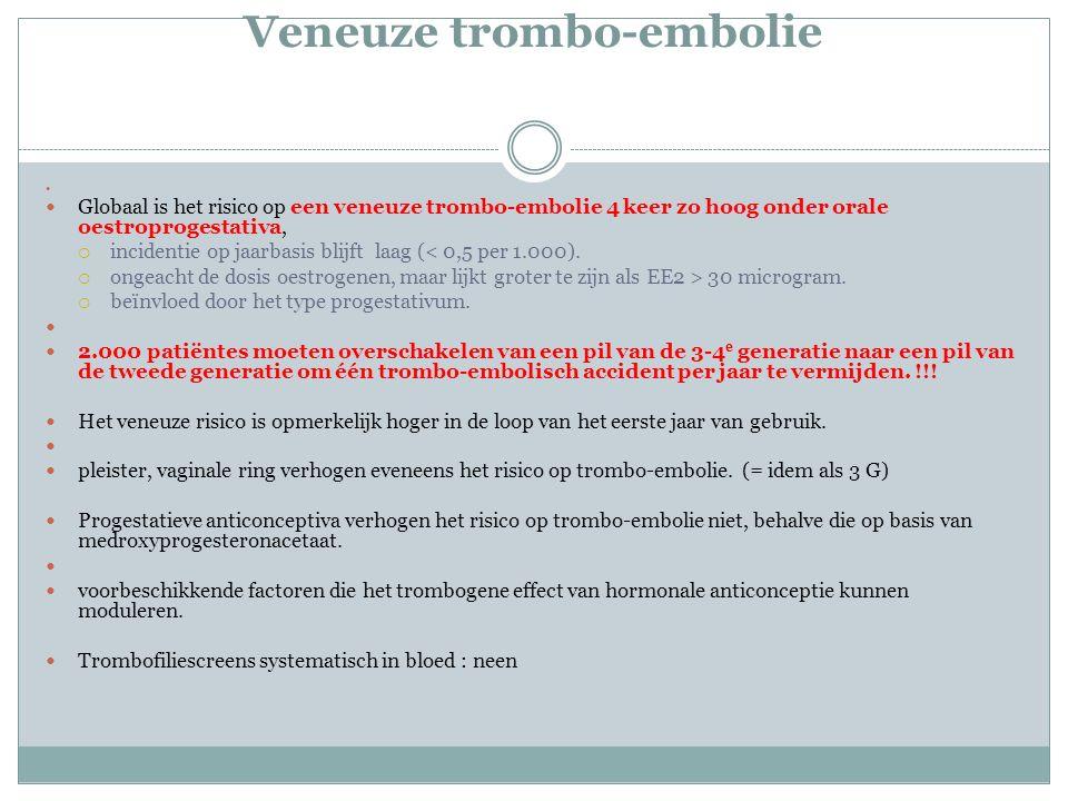 Veneuze trombo-embolie Globaal is het risico op een veneuze trombo-embolie 4 keer zo hoog onder orale oestroprogestativa,  incidentie op jaarbasis blijft laag (< 0,5 per 1.000).