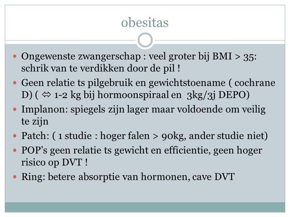 obesitas Ongewenste zwangerschap : veel groter bij BMI > 35: schrik van te verdikken door de pil ! Geen relatie ts pilgebruik en gewichtstoename ( coc
