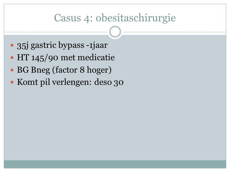 Casus 4: obesitaschirurgie 35j gastric bypass -1jaar HT 145/90 met medicatie BG Bneg (factor 8 hoger) Komt pil verlengen: deso 30