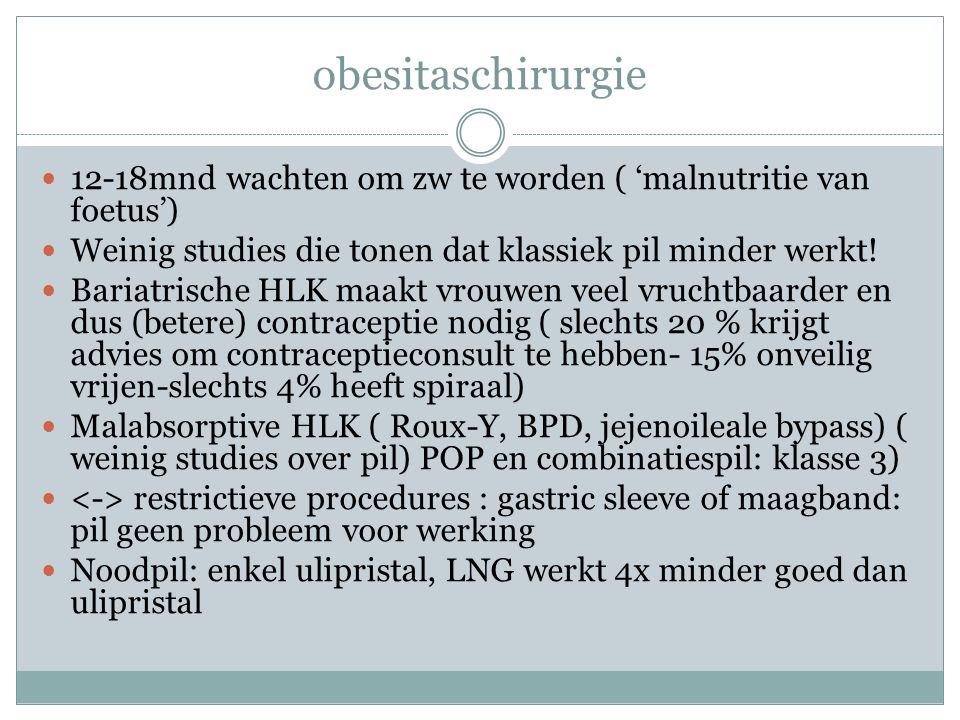 obesitaschirurgie 12-18mnd wachten om zw te worden ( 'malnutritie van foetus') Weinig studies die tonen dat klassiek pil minder werkt.