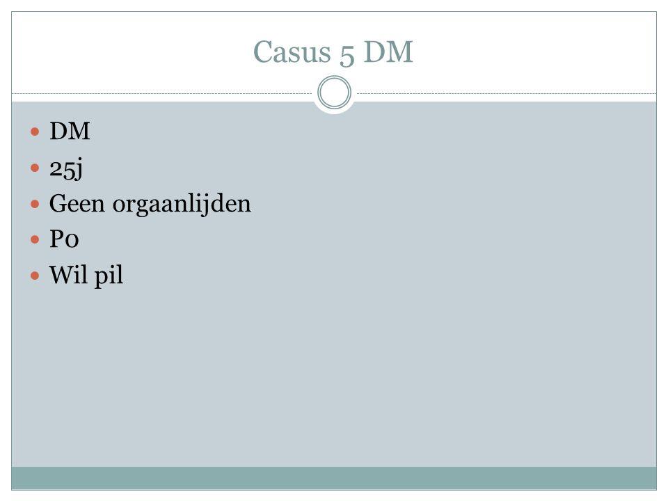 Casus 5 DM DM 25j Geen orgaanlijden P0 Wil pil