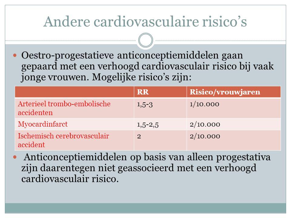 Andere cardiovasculaire risico's Oestro-progestatieve anticonceptiemiddelen gaan gepaard met een verhoogd cardiovasculair risico bij vaak jonge vrouwen.