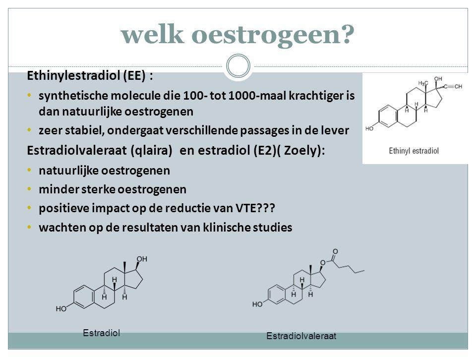welk oestrogeen? Ethinylestradiol (EE) : synthetische molecule die 100- tot 1000-maal krachtiger is dan natuurlijke oestrogenen zeer stabiel, ondergaa