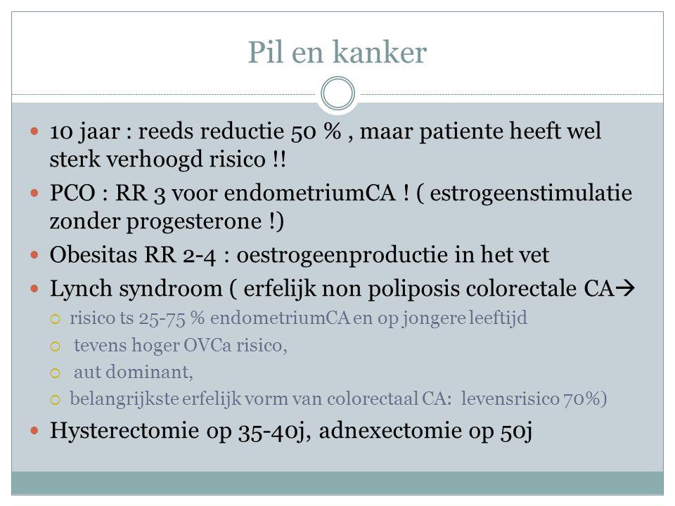 Pil en kanker 10 jaar : reeds reductie 50 %, maar patiente heeft wel sterk verhoogd risico !! PCO : RR 3 voor endometriumCA ! ( estrogeenstimulatie zo