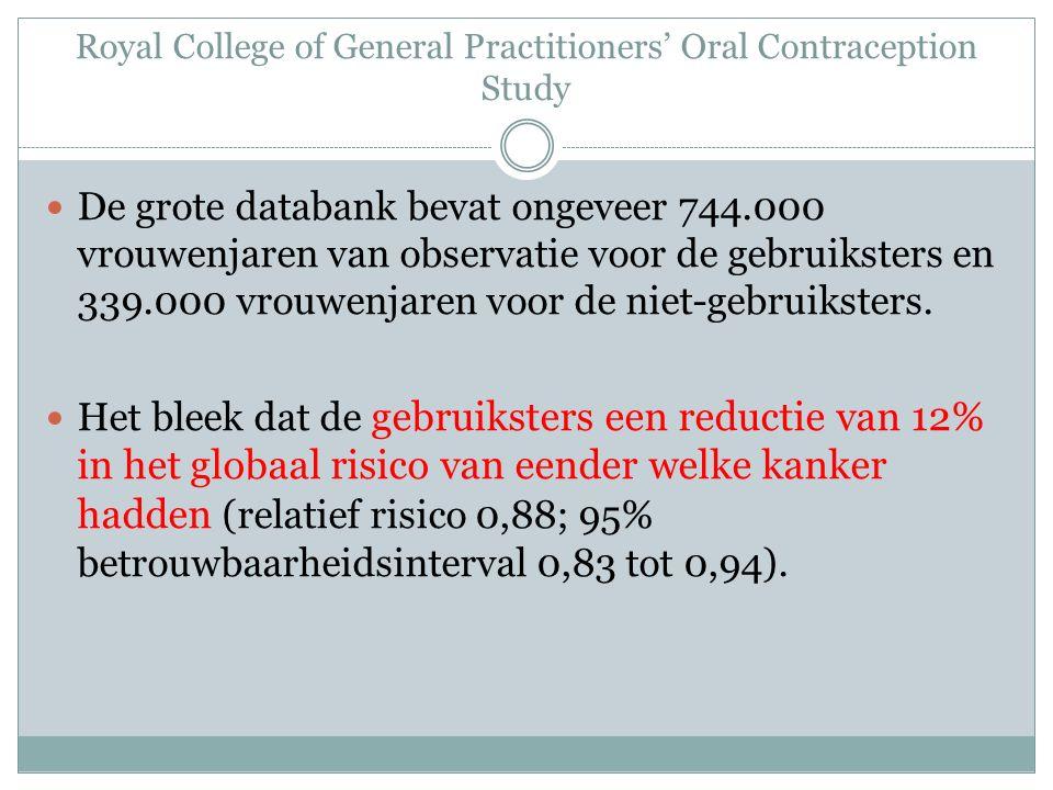 Royal College of General Practitioners' Oral Contraception Study De grote databank bevat ongeveer 744.000 vrouwenjaren van observatie voor de gebruiksters en 339.000 vrouwenjaren voor de niet-gebruiksters.