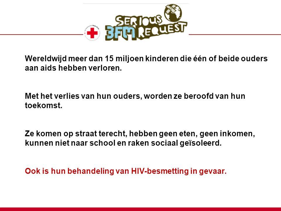 Wereldwijd meer dan 15 miljoen kinderen die één of beide ouders aan aids hebben verloren.