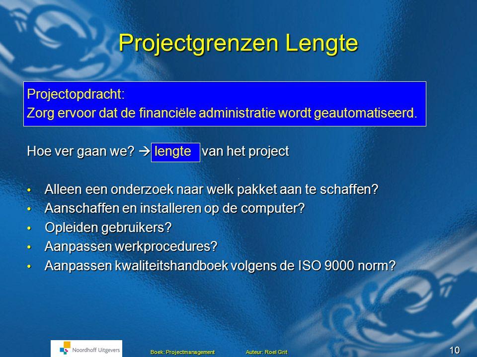 9 Boek: Projectmanagement Auteur: Roel Grit Projectgrenzen Projectgrenzen Start van het project Einde project Rand van het project Mijlpaal Project Pr
