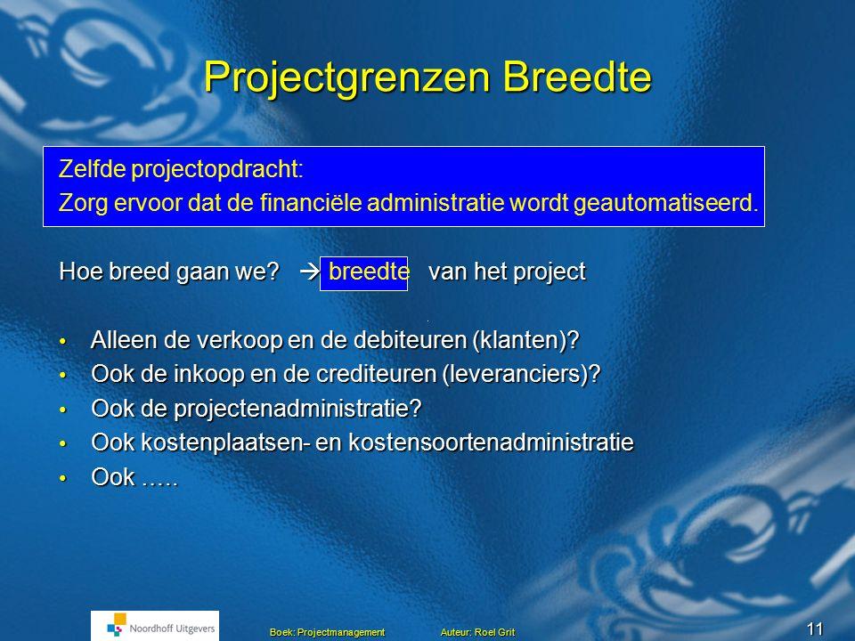 10 Boek: Projectmanagement Auteur: Roel Grit Projectgrenzen Lengte Projectopdracht: Zorg ervoor dat de financiële administratie wordt geautomatiseerd.