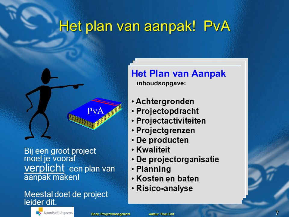6 Boek: Projectmanagement Auteur: Roel Grit Vragen vooraf aan het project Waar vindt het project plaats? Waar vindt het project plaats? Wat leveren we