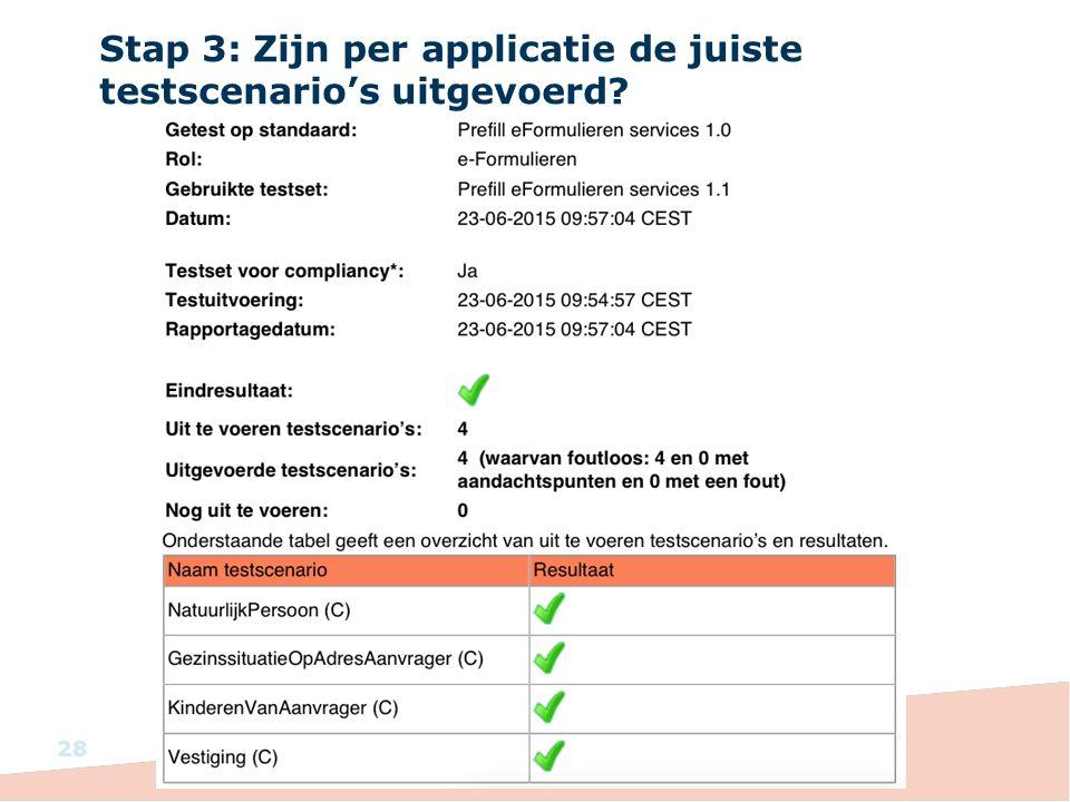 Stap 3: Zijn per applicatie de juiste testscenario's uitgevoerd? 28